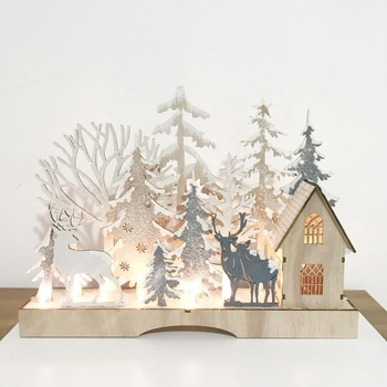 Christmas gifts home office decoration with LED lamp desktop decoration small wooden handicrafts