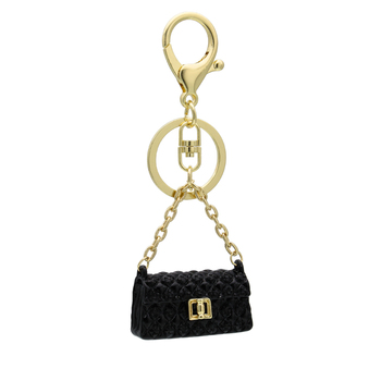 Customized manufacturer black leather mini bag charm keychain