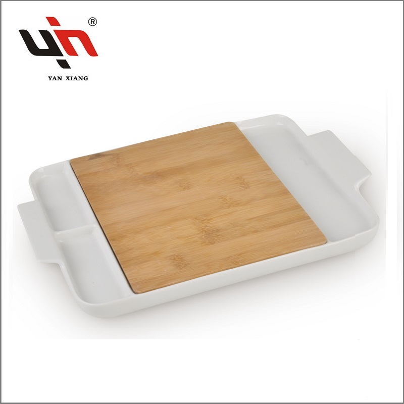 Ceramic plate Bamboo Cheese Set Factory sale Yanxiang porcelain