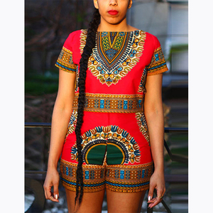 Summer African Clothing Women Two Piece Shorts Set African Kitenge Dress Designs Slim Fit