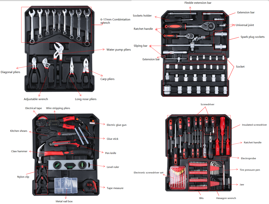 TECUNIQ Multiple Uses Hardware Car Tools Set Box For Auto Repair