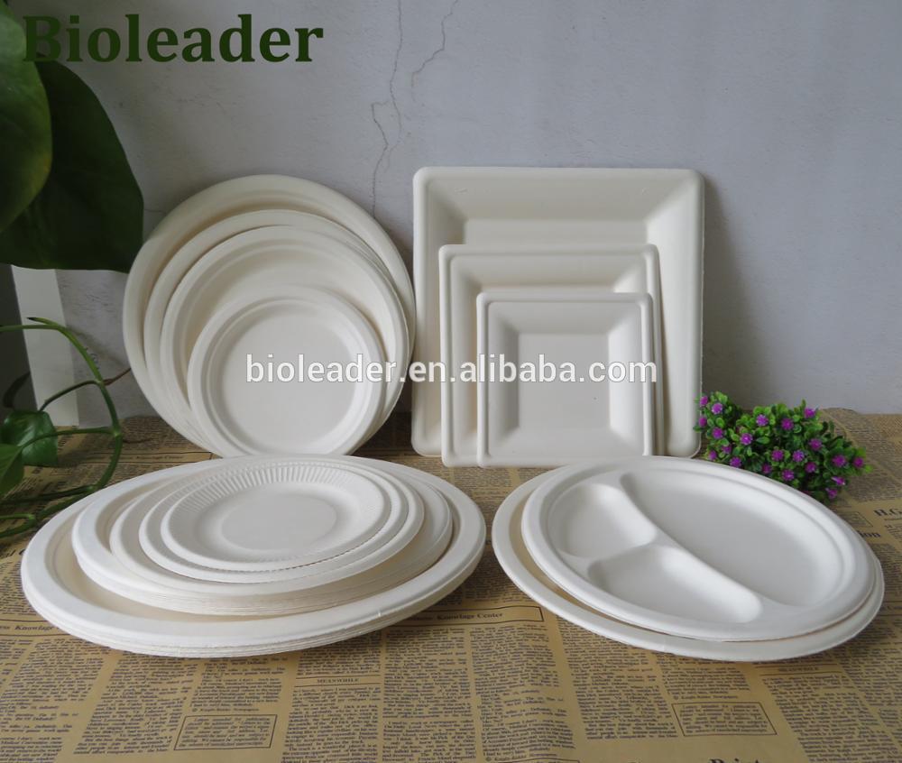 """Descartáveis biodegradáveis Bagaço De Cana Placas (6 """",7"""",8 """",9"""" polegadas, quadrado, redondo, Oval)"""