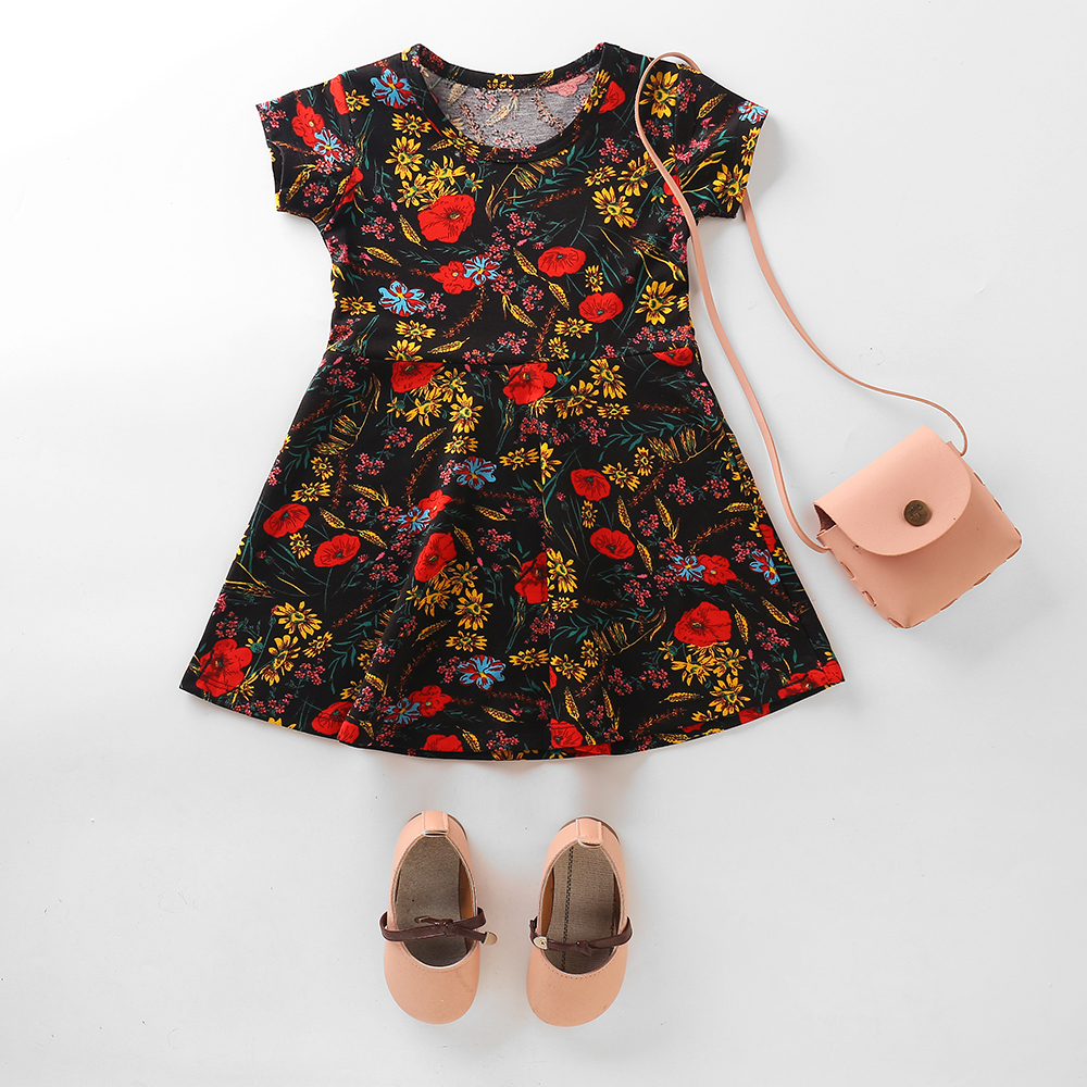 Ready to ship baby girls dresses latest dress design summer short sleeve cartoon print party dresses cotton kids frocks dress