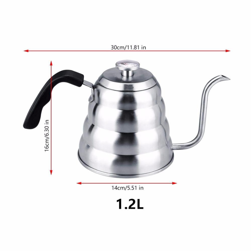1,2/1л термометр из нержавеющей стали гусиная шея чайник кофейник кувшин Мока Эспрессо кофеварка бариста капельный чайник горшки(Китай)