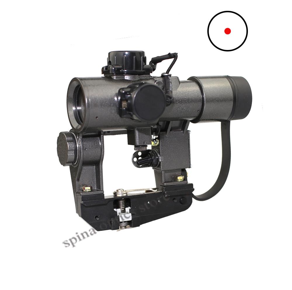 SPINA OPTICS SVD 1X30 Dragunov Premium Guns Hunting Red Dot Sight ak Rifle Scope Weapon, Black