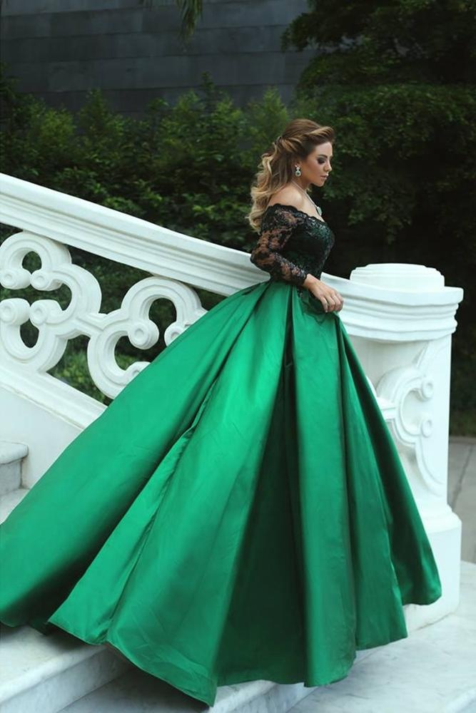Off shoulder lovertjes lange mouwen green satin avondjurk prom gown