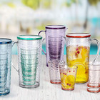 new arrival hot sale ps colored beautiful plastic drinking glass water pitcher set