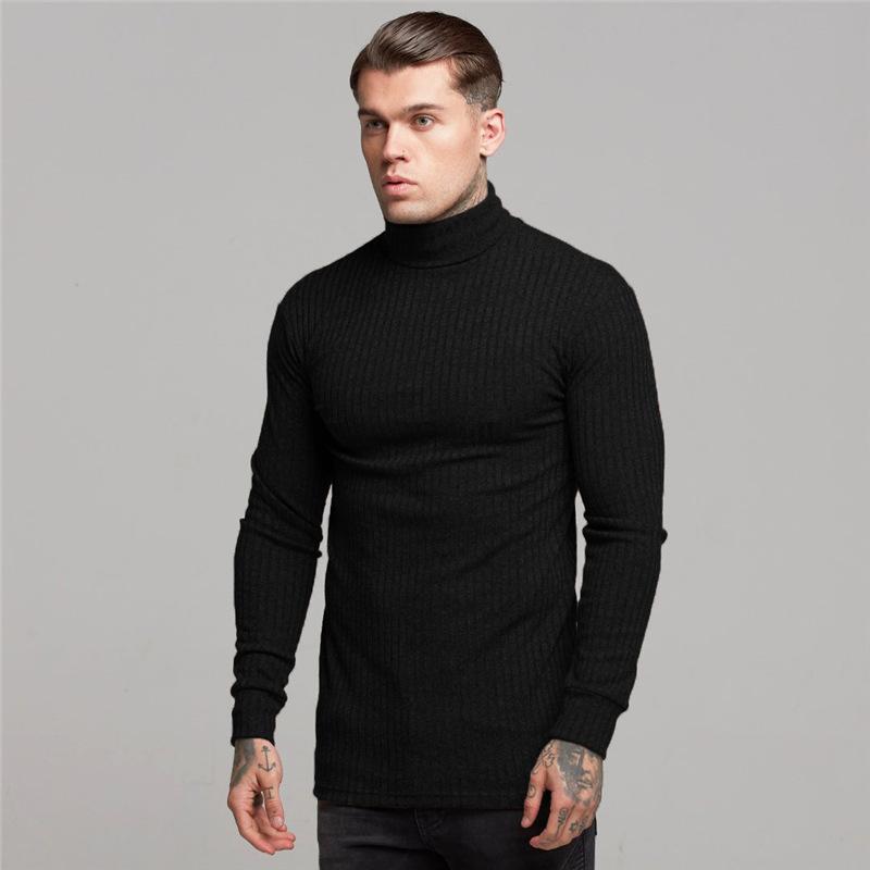 Plus Size Men High Neck Slimming Long Sleeve Sports T Shirt Compression Kinting Shirt 9