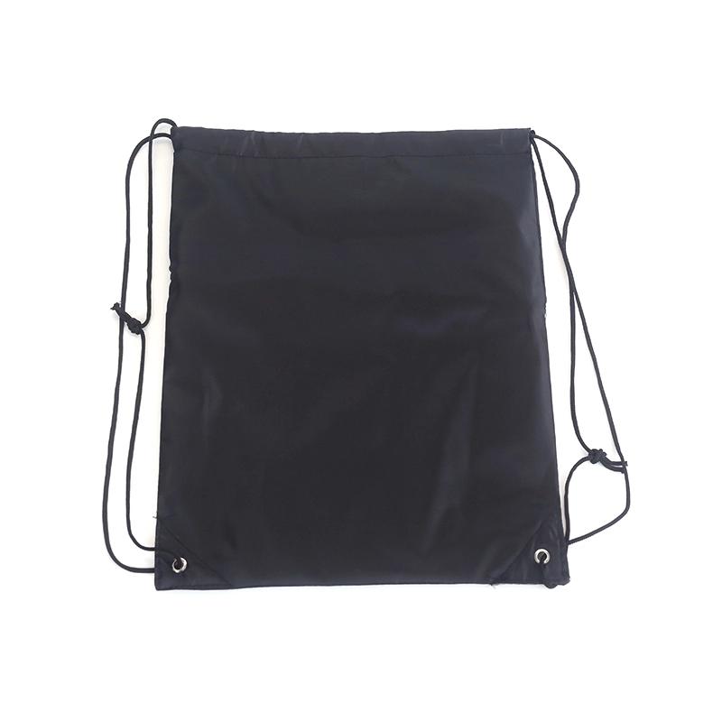 Printed logo durable black waterproof earphone hole polyester drawstring gym backpack bag
