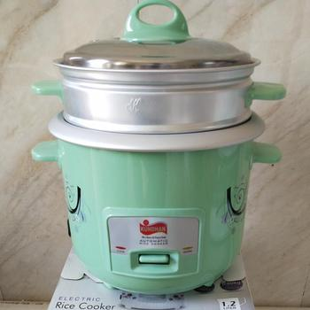1.2L RTS full body straight 2 layers rice cooker with inner pot ss lid green plastic factory cheap price electric rice cooker
