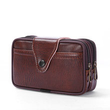 Поясная Сумка из искусственной кожи для мужчин, Классическая поясная сумка, креативный тонкий дизайн, шикарный однотонный деловой Повседне...(Китай)