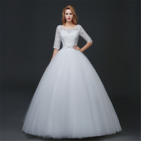 2019 latest designs Vestidos De Novia middle sleeves lace plus size puffy wedding dress Ball Gown