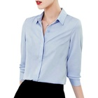 High quality hot selling blue polyester ladies blouse