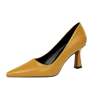 1878-2 2019 new fashion sexy Women's shoes Thick heel High heels shallow mouth Pointed toes serpentine female Single shoes