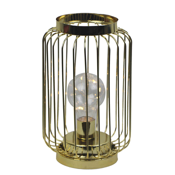 Metal wire golden color tabletop LED lantern with bulb