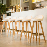Bar Stool Nordic Rustic Classic High Kitchen Counter Chair Modern Wooden Leather PU Fabric Bar Stool With Back