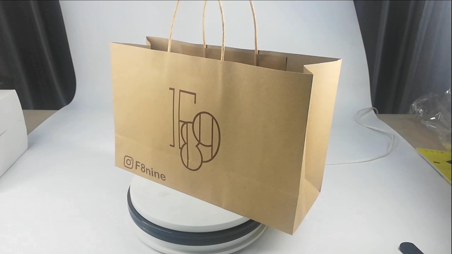 OEM Luxus großhandel verpackung shopping standard papier taschen drucker, angepasst braun kraft papier tasche für geschenk kaffee