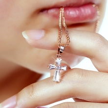 925 Sterling Silver crystal Cross necklace for women Crystal Pendant rose gold chains choker for girl