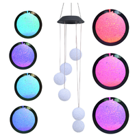 2020 hot sale outdoor modern plastic ball hanging multi color changing decorative solar 6 led light wind chimes for garden