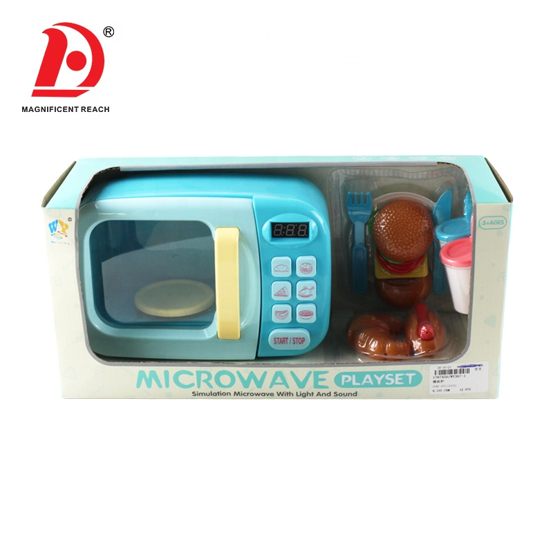 Hotsale Happy Role Play DIY Food Cooking Game Cute Small House Appliances Plastic Smart Microwave Oven Kitchen Set Toy for Girls