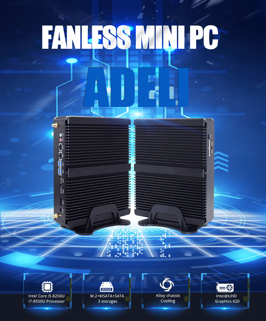 Mini PC I7 8550U HD PC Gaming Fanless Desktop PC Windows10 Barebone System Dual Intel NIC AC WiFi pfsense Firewall Server 4G SIM