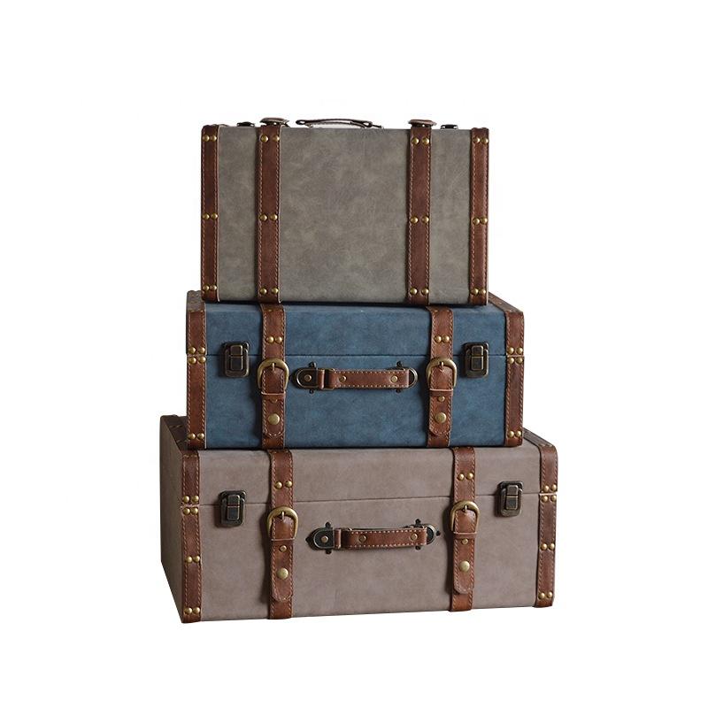 New retro estilo Americano caixa de armazenamento de exibição de madeira fotografia prop pano mala de couro pu