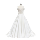 Vanora Gorgeous Off Shoulder A-line Satin Bridal Ball Gowns Lace-Up Beaded Wedding Dresses