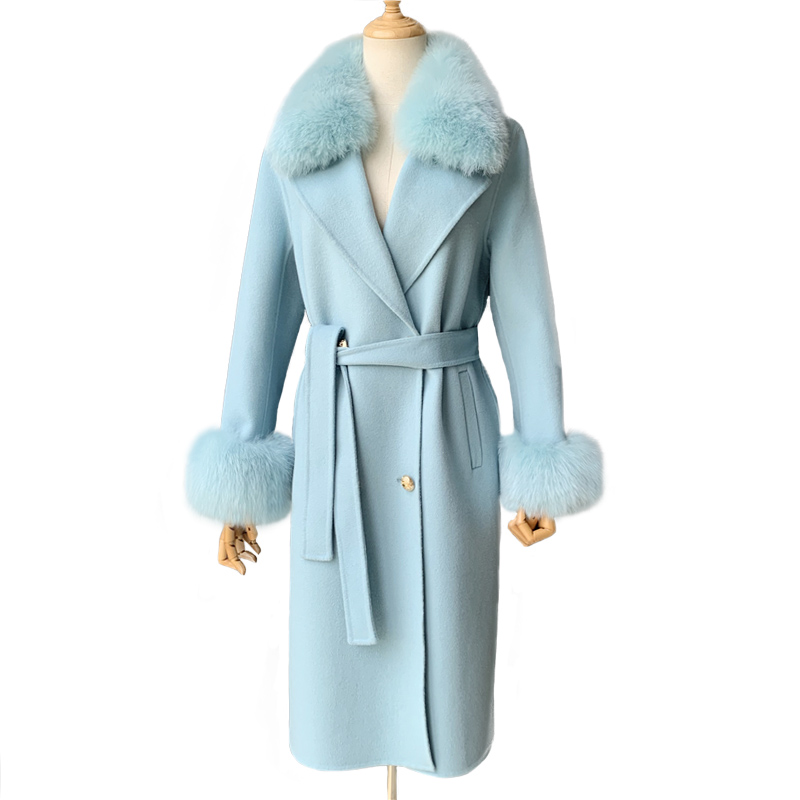 Double side Real Fox Fur Collar Double Face Korean 100% Cashmere Wool <strong>Coat</strong> 2019 <strong>Fashion</strong> Long <strong>Winter</strong> Wool <strong>Coat</strong> Women