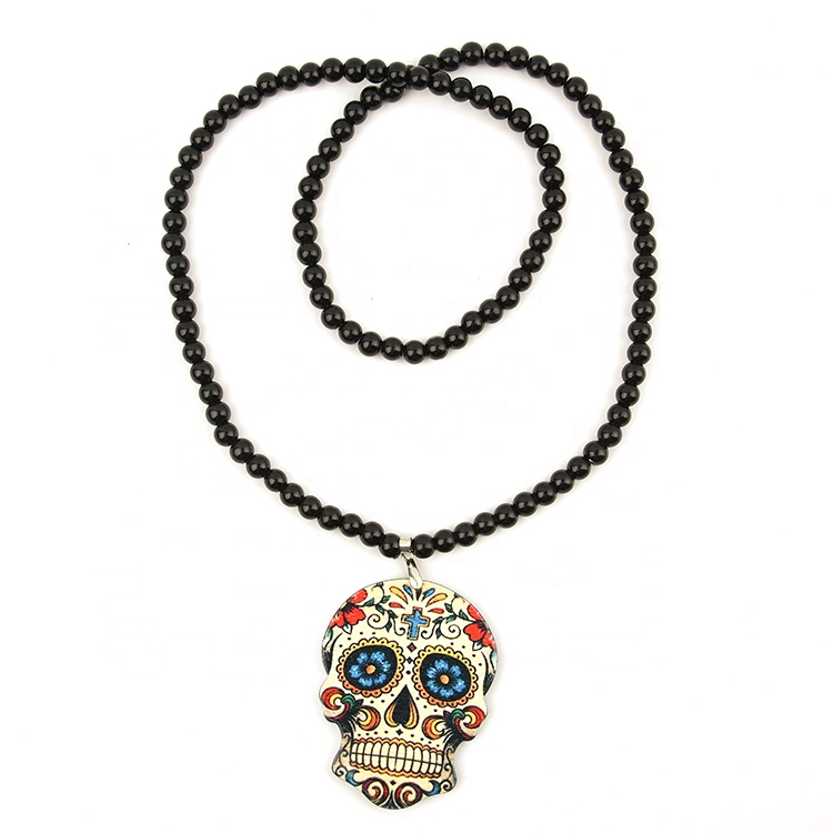 Latest design beads necklace with skull pendant, the day of dead black jewellery pendant necklaces, As picture or according to your requirement