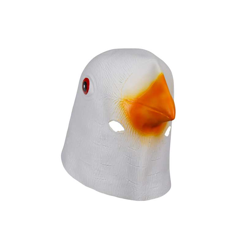 Molezu White Rooster with Feathers Crazy Chicken Mask Party Cosplay Halloween Funny Cock Latex Adults High Quality Animal Mask