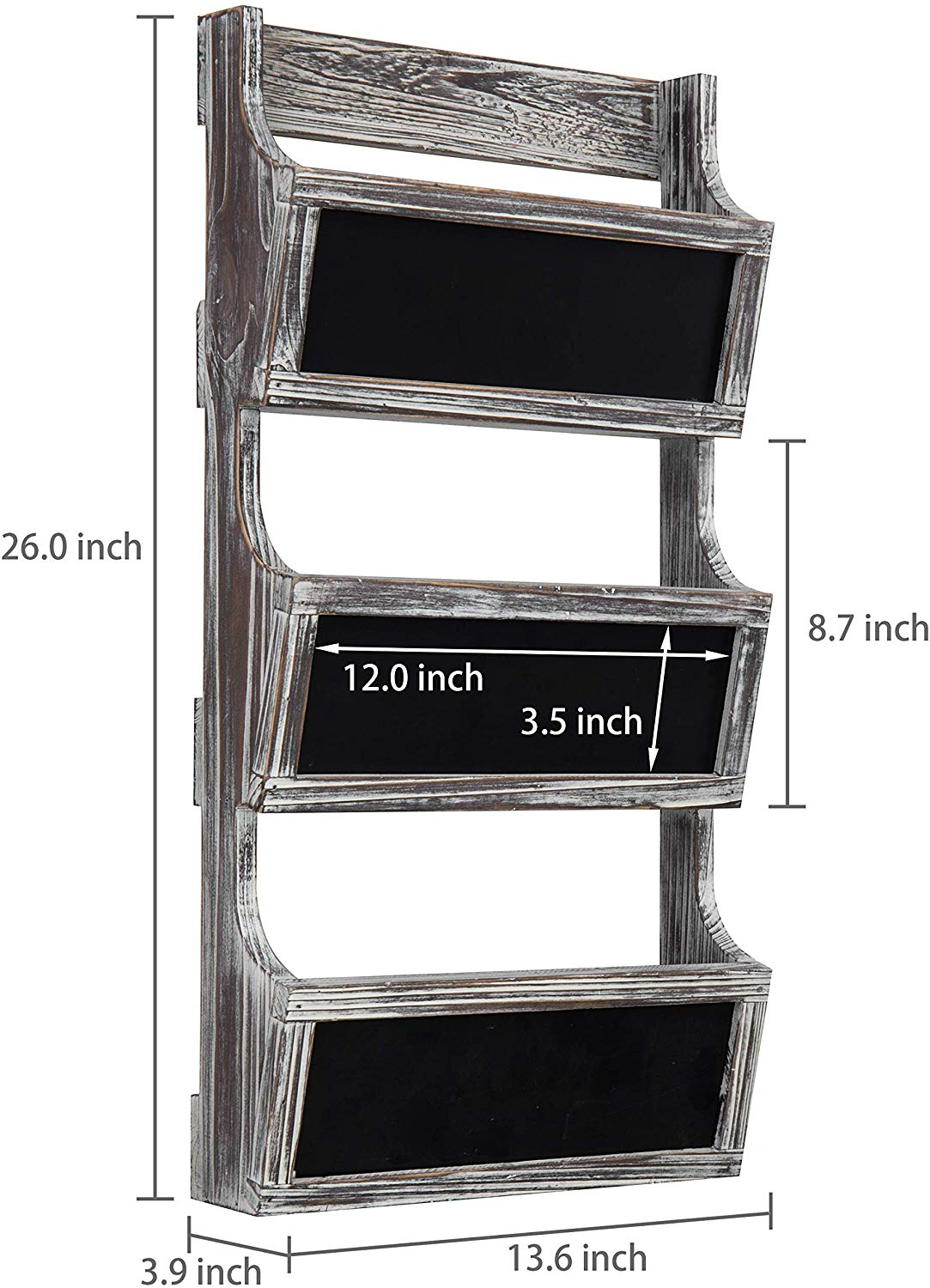 3-Slot Torched Wood Wall Mounted Magazine Rack & Mail Sorter with Chalkboard Labels
