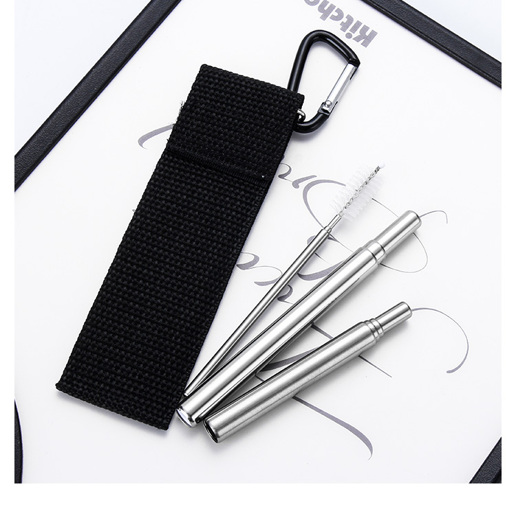 Pouch Packaging Reusable Metal Straw Telescopic Drinking Straw Sets with Carabiner