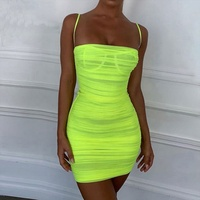Hot Mesh Summer Dress 2019 Women Spaghetti Straps Bodycon Ruched Dress Woman Party Night Club Dress Sexy Robe