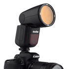 Godox V1-F Flash with Godox AK-R1 and PERGEAR Color Filters Kit 76Ws 2.4G TTL Round Head Flash Speedlight