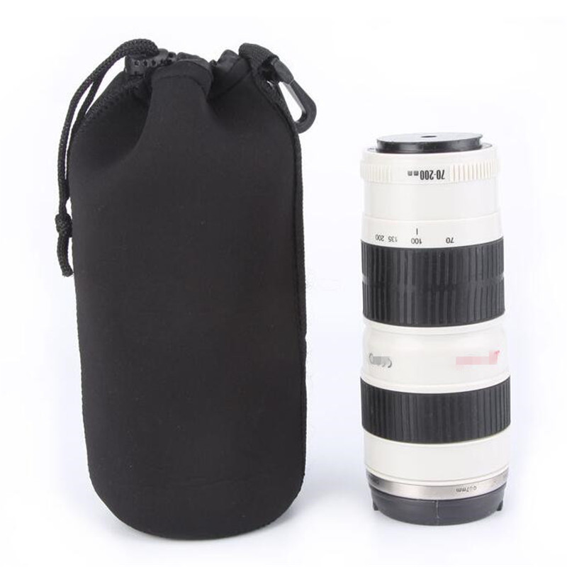 Drawstring Camera Lens Pouch Thickness Soft DSLR Lens Case Protector for Canon Nikon Lens