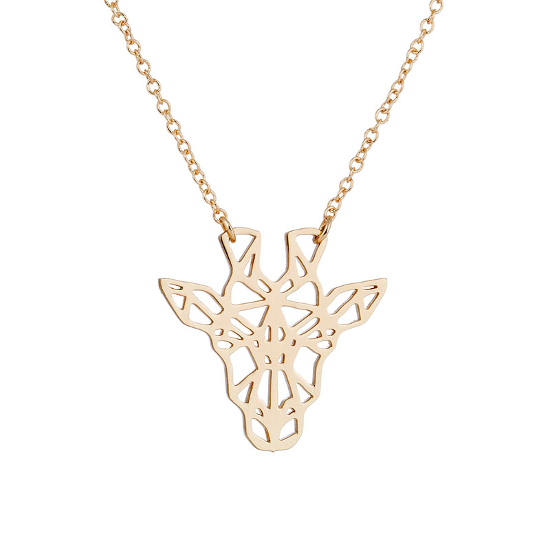 <strong>Cute</strong> Design Giraffe <strong>Necklace</strong> 18k Rose Gold Plated Animal Lover Origami Jewelry