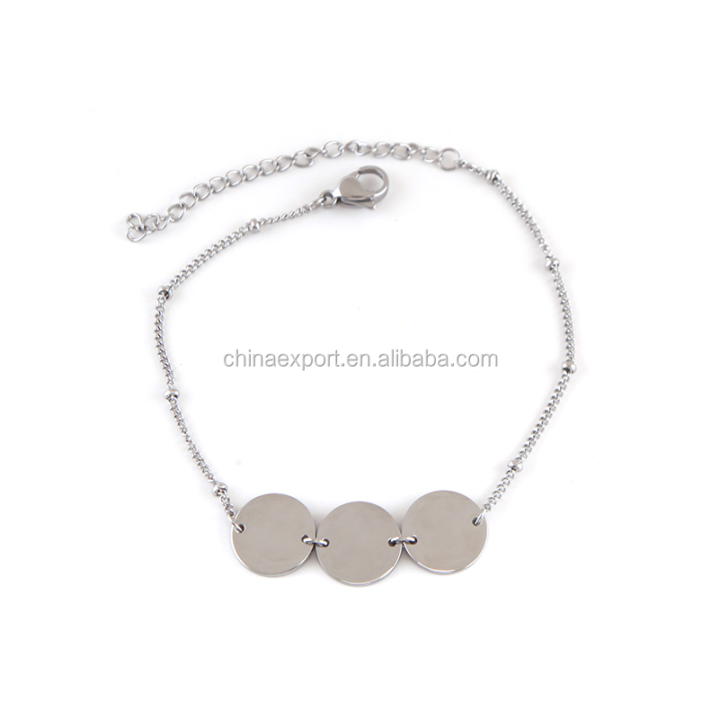 2020 small round plate bracelets chain bracelet for women