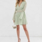 New modern elegant sexy ladies summer casual dress lace up mini dress with ladder trim