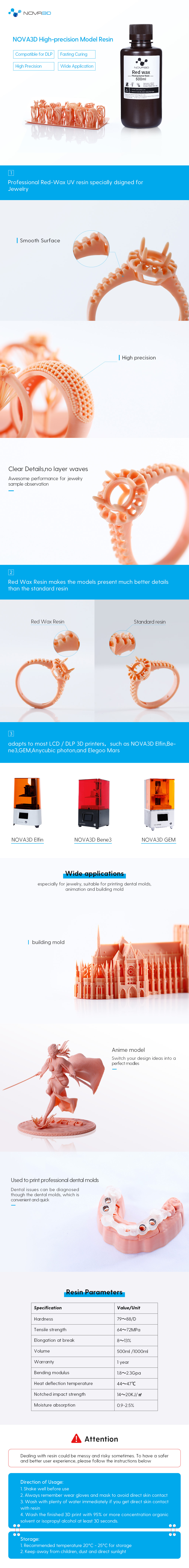 Nova3d red Wax resin uv photosensitive resin 405nm for anime jewelry dlp lcd 3d printer 500ml
