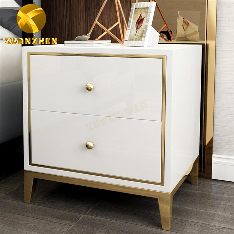 Bedroom furniture bedroom sets white wooden bedside cabinet modern nightstand bedside table with drawers