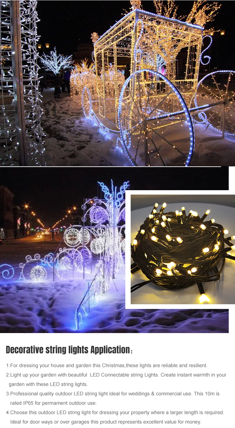 Festival Decoration Lighting Waterproof IP65 3W 6W Rubber Copper Wire Christmas LED String Light