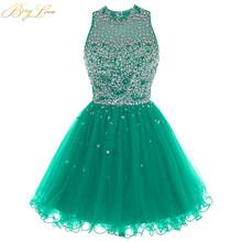 Роскошное платье с бусинами для выпускного вечера, модель 2020 года, ярко-синее мини-платье из тюля с блестками, короткое платье для выпускног...(Китай)