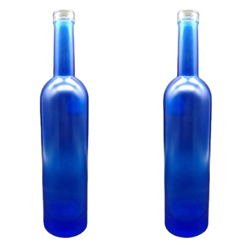 Customized blue color glass bottle for win spirit beverage Manufacturer 700ml 750ml Vodka Alcohol Bule bottles