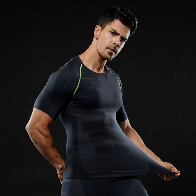 Wholesale Quick-Dry Slimming Men's Short Sleeve Sports Wear T-shirt Dry Fit Running Shirt 3