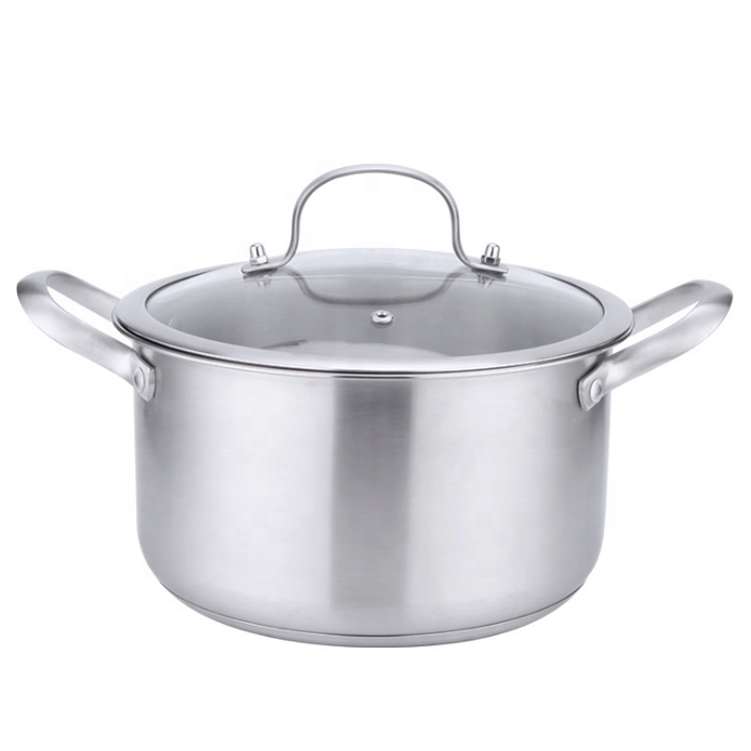 Good quality Cookware Set 304 Stainless Steel cooking Pot induction stock pot with Glass Lid