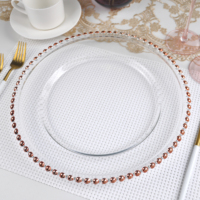Hot selling clear round glass charger plates wedding with rose gold rim bead in bulk