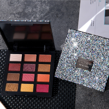 2020 New Arrive 12 Colors Private Label Eyeshadow Palette Custom Glitter Eye Shadow Palette With Diamond Box