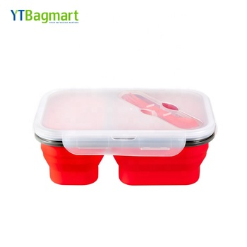 BPA Free 3 Compartment Collapsible Platinum Silicone Lunch Bento Box with Lid