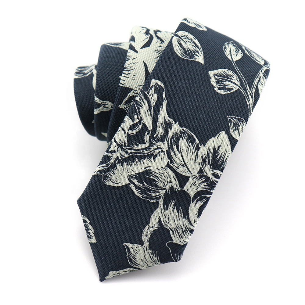 Handmade Navy <strong>Blue</strong> Good Quality Microfiber <strong>Flowers</strong> Printed Cheap Wholesale <strong>Ties</strong> for Men