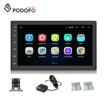 Podofo Universal Android Radio 9.1 System 7 inch 2 Din Car Player GPS Navigation WIFI Bluetooth FM Mirror Link + Rear Camera